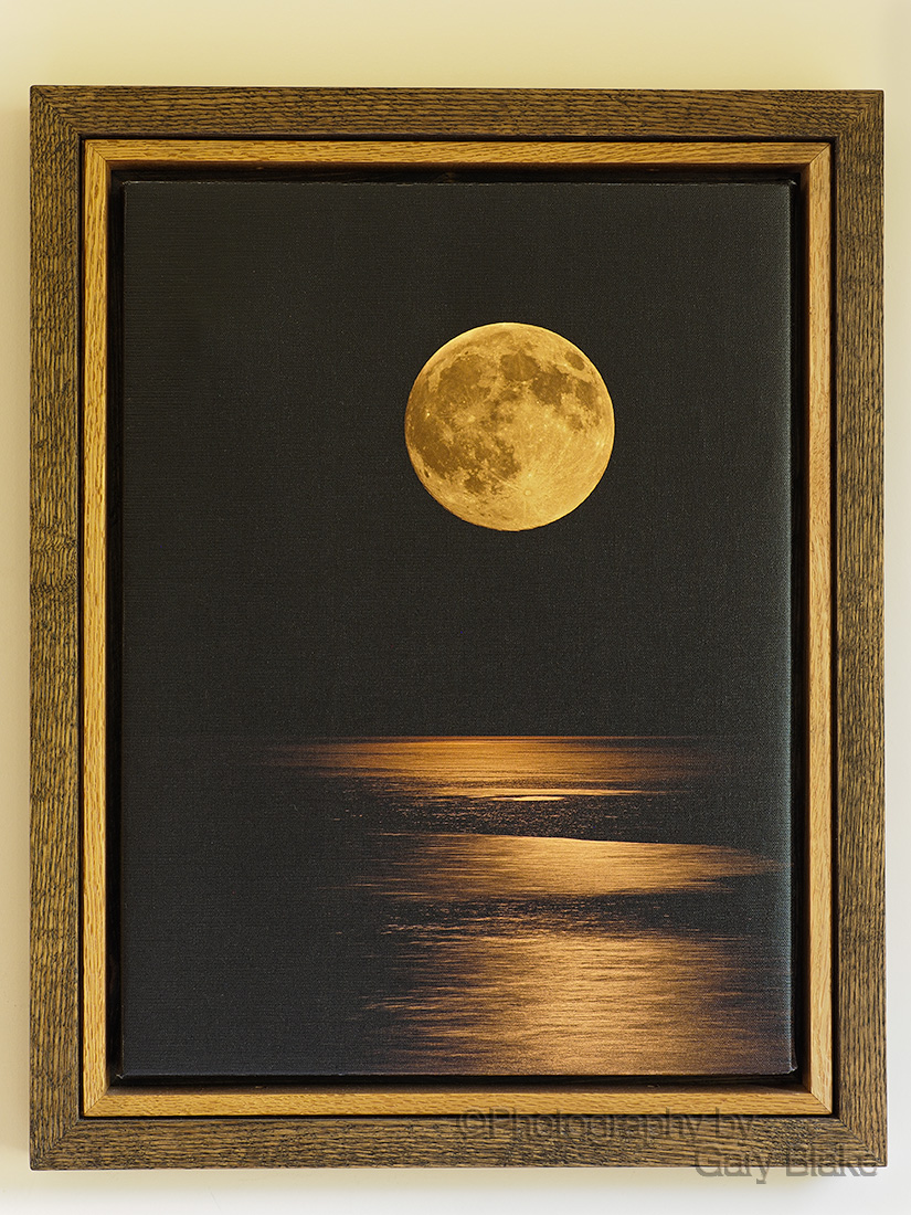 Moonrise, on canvas, custom oak frame