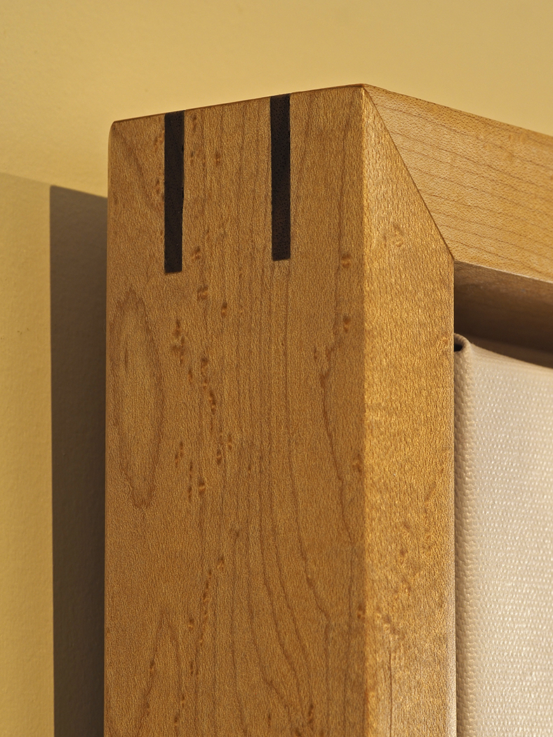 Corner detail, bird's eye maple with walnut splines
